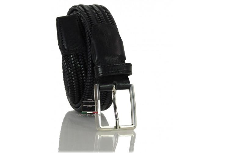 Braided stretch leather belt elastic, adjustable, Black