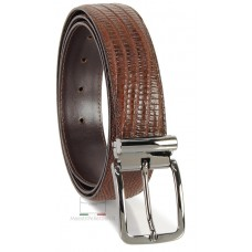 Cintura da uomo elegante in pelle stampa LUCERTOLA Marrone/Moka