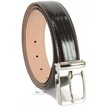 Cintura elegante uomo in pelle stampa LUCERTOLA lucida Marrone/Moka