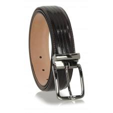 Dress Men's belt in lizard-print tejus shiny Brown