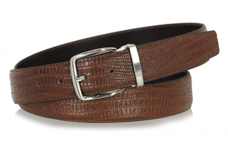 Dress Men's belt in LIZARD-print tejus Black