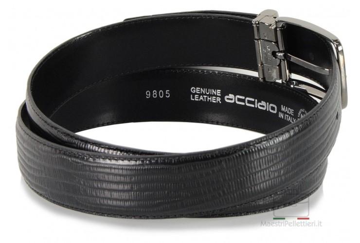 Cintura da uomo elegante in pelle stampa LUCERTOLA Nero