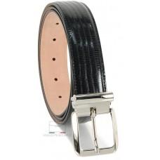 Cintura elegante uomo in pelle stampa LUCERTOLA lucida Nero