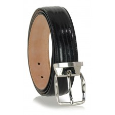 Dress Men's belt in lizard-print tejus shiny Black