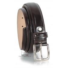 Cintura elegante in pelle Spazzolata Lucida Marrone 3cm