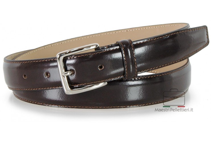 Dress belt in glossy brushed leather Brown 3cm
