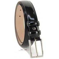 Cintura elegante in pelle Spazzolata Lucida Nera 3cm