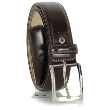 Dress belt in brushed leather and shiny buckle, Brown
