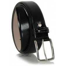 Dress belt in glossy brushed leather Black with dots