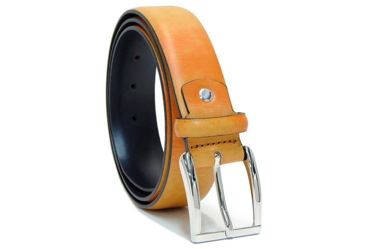 Cintura moda in Cuoio colorato dipinto Giallo e Arancio