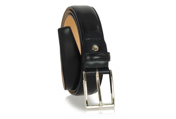 Cintura elegante con fibbia Oro in cuoio liscio Nero
