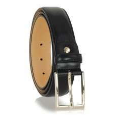 Elegant man's belt with gold buckle in smooth leather Black