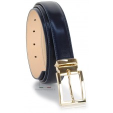 Suit's man's belt 3cm with gold buckle in smooth leather Blu