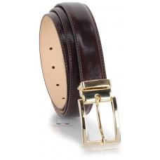Cintura elegante da 3cm fibbia Oro in cuoio liscio Marrone/Moro