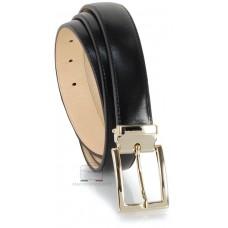 Cintura elegante da 3cm fibbia Oro in cuoio liscio Nero