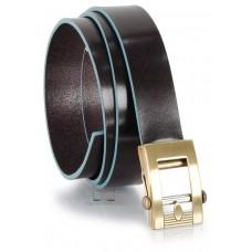 Cintura senza buchi in cuoio 3cm Marrone/Moka con bordi Blu