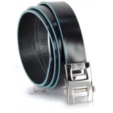 Cintura senza buchi in cuoio 3cm Nero con bordi Blu