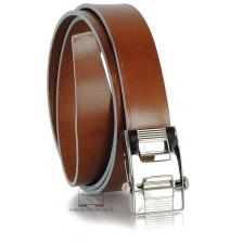 Cintura senza buchi in cuoio 3cm Cognac con bordi Blu
