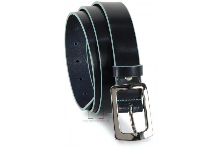 Cintura in cuoio Blu da 3cm con bordi Blu
