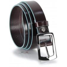 Cintura in cuoio Marrone/Moka da 3cm con bordi Blu