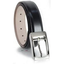 Cintura uomo elegante con fibbia moda in cuoio liscio Nero
