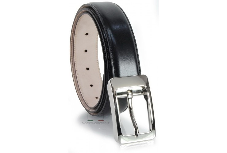 Elegant man's dress belt with fashion buckle in smooth leather Black