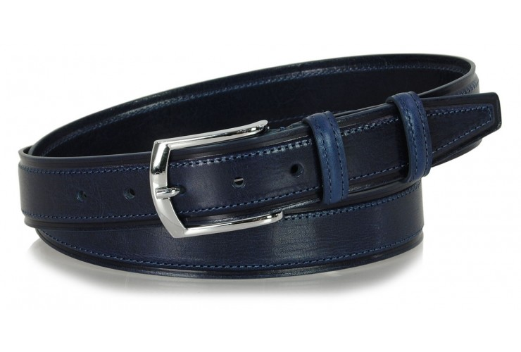 Men's Classic and Casual leather belt, shiny buckle - Blu