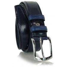 Cintura Classica e casual, fibbia lucida, in vera pelle Blu