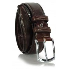 Cintura Classica e casual, fibbia lucida, in vera pelle Marrone/Moka