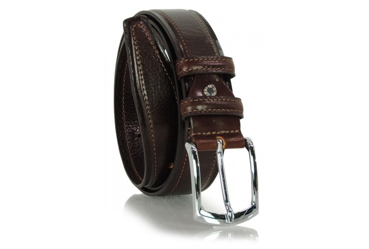 Men's Classic and Casual leather belt, shiny buckle - Brown