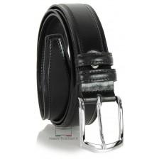 Cintura Classica e casual, fibbia lucida, in vera pelle Nero