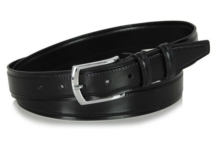 Men's Classic and Casual leather belt, shiny buckle - Black