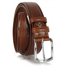 Men's Classic and Casual leather belt, shiny buckle - Cognac