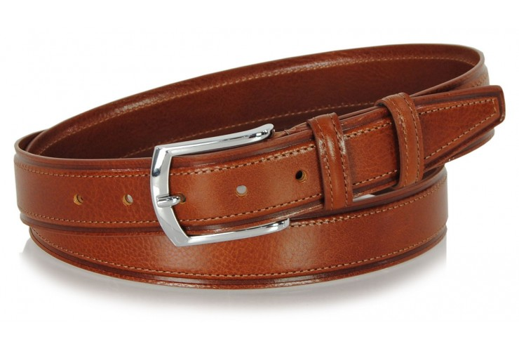 Cintura Classica e casual, fibbia lucida, in vera pelle Cognac