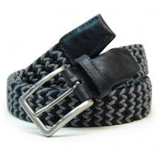 Braided stretch belt, elastic and wool Blu and Gray