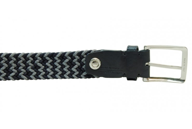 Braided stretch belt, elastic and wool Blu and Gray