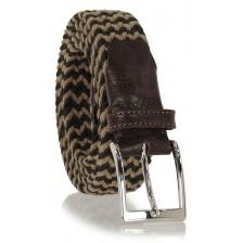 Braided stretch belt elastic Brown-Taupe