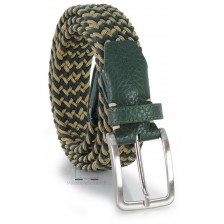 Cintura intrecciata elastica regolabile Verde e Beige