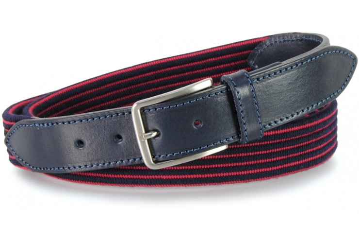 Braided stretch belt, elastic and wool Blu and Red stripes