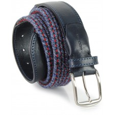 Braided stretch belt, elastic and wool Blu Gray Storm