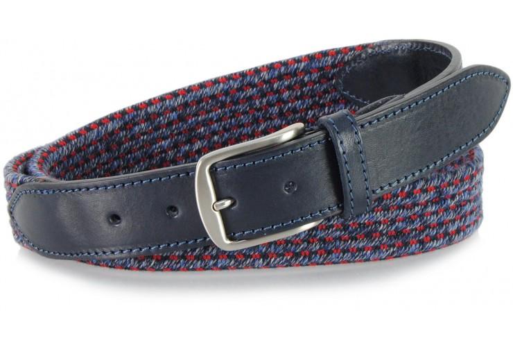 Cintura intrecciata elastica misto lana, Tempesta Blu e Grigio