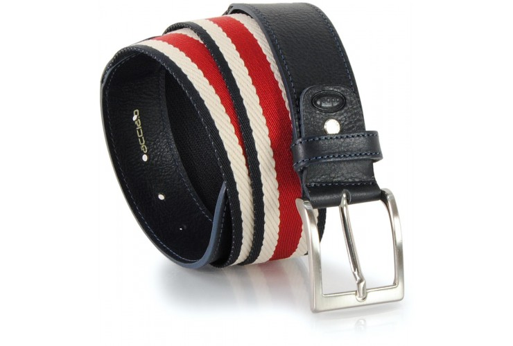 Cintura a nastro misto cotone con riporti in pelle, Blu 4cm