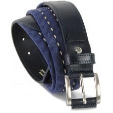 Cintura a nastro e corda in Cotone lavato con riporti in pelle, Blu