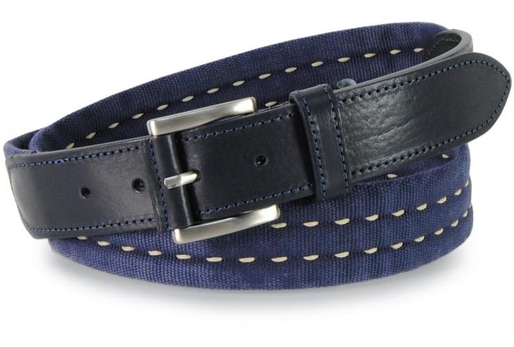 Belt canvas ribbon cotton washed tape with leather appliqués, Blue