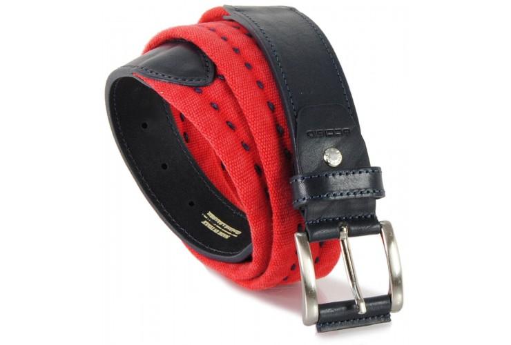 Cintura a nastro e corda in Cotone lavato con riporti in pelle, Rosso