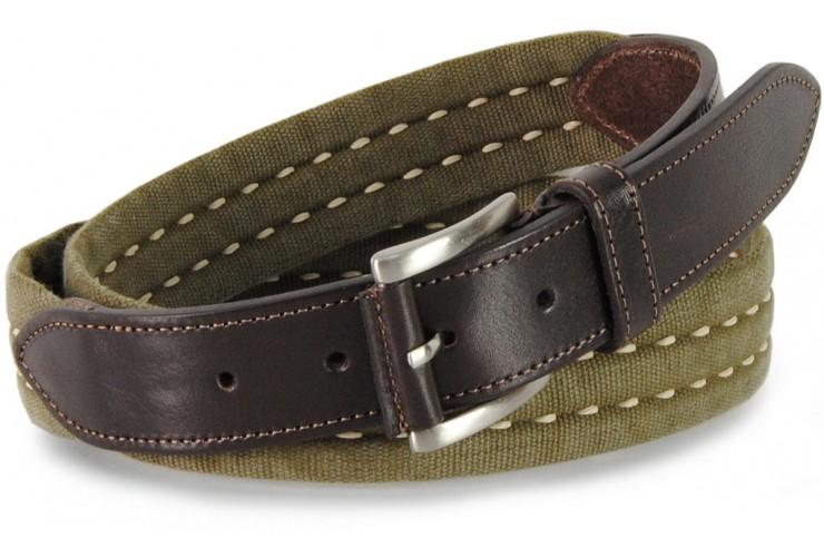 Cintura a nastro e corda in Cotone lavato con riporti in pelle, Verde militare