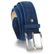 Cintura in camoscio e nastro jaquard 4cm, Blu