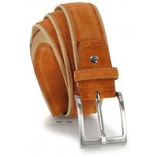 Cintura in camoscio e nastro jaquard 4cm Cognac