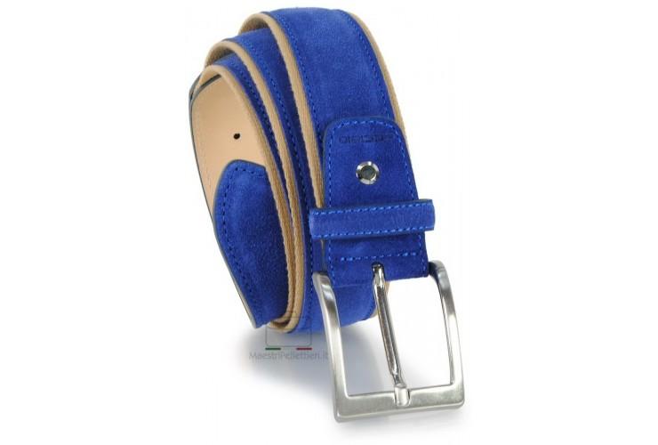 Cintura in camoscio e nastro jaquard 4cm, Indaco/Blu