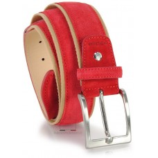 Cintura in camoscio e nastro jaquard 4cm Rosso